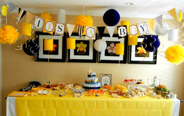 Decoracion baby shower en amarillo